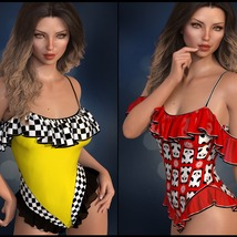 Sirens: dForce - Frilly Swimsuit for G8F image 2