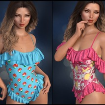 Sirens: dForce - Frilly Swimsuit for G8F image 4