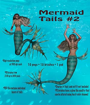Mermaid Tails Part 2 High Res 2D Graphics markcruz