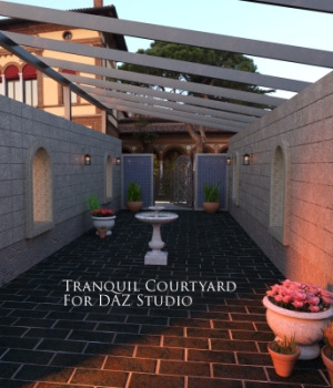 Tranquil Courtyard for DAZ Studio 3D Models EmotionalOutlet3D