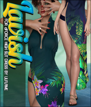 Lavish for dForce High Slit Dress 3D Figure Assets Sveva