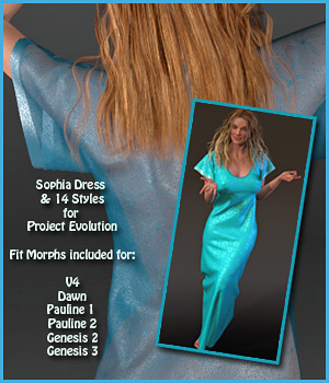 Sophia Dress and 14 Styles for PE, V4, Dawn, Pauline, G2 and G3 3D Figure Assets karanta
