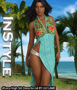 InStyle - dForce High Slit Dress for Genesis 8 Females 3D Figure Assets -Valkyrie-