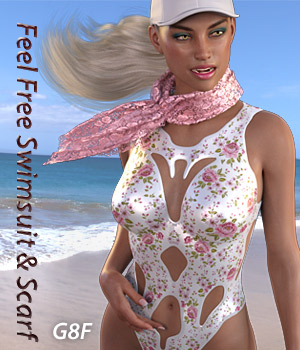 Feel Free Swimsuit & Scarf for G8F 3D Figure Assets Mar3D
