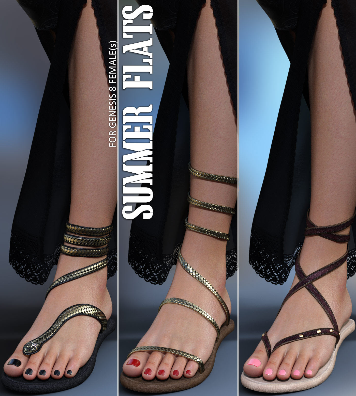 Summer Flats for Genesis 8 Females by lilflame