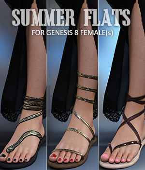 Summer Flats for Genesis 8 Females 3D Figure Assets lilflame