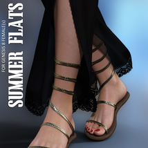 Summer Flats for Genesis 8 Females image 3