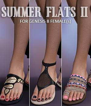 Summer Flats II for Genesis 8 Females 3D Figure Assets lilflame