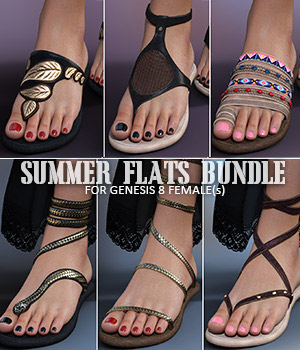 Summer Flats Bundle for Genesis 8 Females 3D Figure Assets lilflame