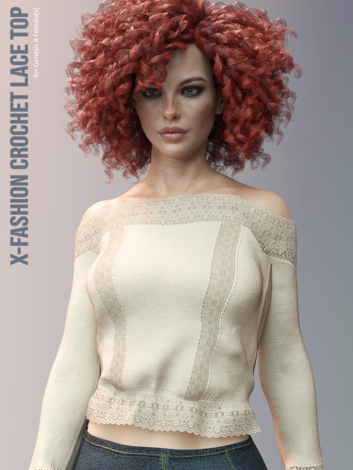 X-Fashion Crochet Lace Top for Genesis 8 Females