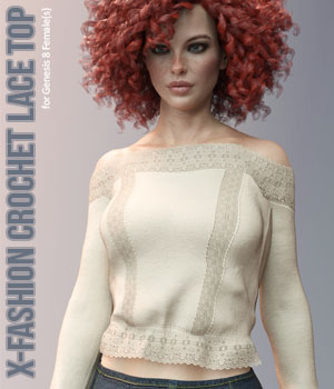 X-Fashion Crochet Lace Top for Genesis 8 Female(s) 3D Figure Assets xtrart-3d