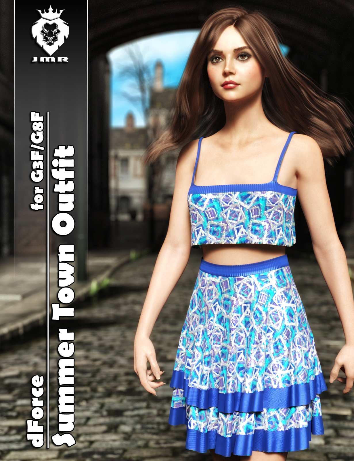 JMR dForce Summer Town Outfit for G3F and G8F
