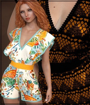 7th Ave: dForce - Butterfly Romper for G8F 3D Figure Assets 3-DArena