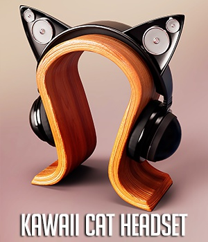 Kawaii Cat Headset for Genesis 3 and 8 Female(s) 3D Figure Assets 3D Models Xile3D