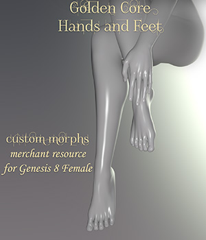 Golden Core Hands and Feet for Genesis 8 Female 3D Figure Assets Sangriart