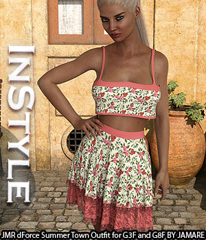 InStyle - JMR dForce Summer Town Outfit for G3F and G8F 3D Figure Assets -Valkyrie-