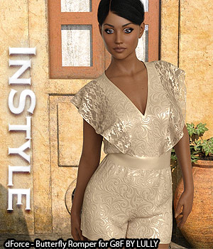 InStyle - dForce - Butterfly Romper for G8F 3D Figure Assets -Valkyrie-