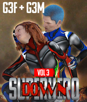 SuperHero Down for G3F and G3M Volume 3 3D Figure Assets GriffinFX