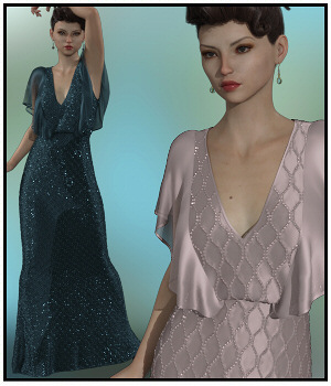 dForce - Butterfly Gown for G8F 3D Figure Assets Lully