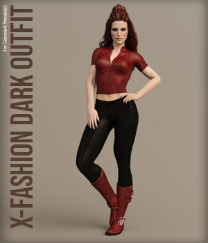 X-Fashion Dark Outfit for Genesis 8 Females 3D Figure Assets xtrart-3d