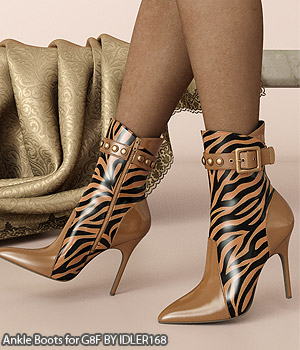 COSMOPOLITAN - Ankle Boots for G8F 3D Figure Assets Anagord