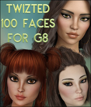 Twizted 100 Faces for Genesis 8 Female 3D Figure Assets TwiztedMetal