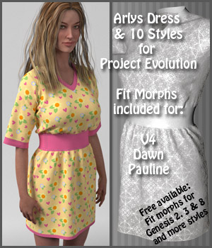 Arlys Dress and 10 Styles for Evolution, V4, Dawn and Pauline 3D Figure Assets karanta
