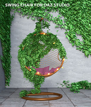 Swing Chair with ivy, pillow and fairy lights for Daz Studio 3D Models avadagra
