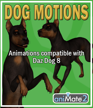 Dog Motions for Daz Dog 8 3D Figure Assets AnyMatter