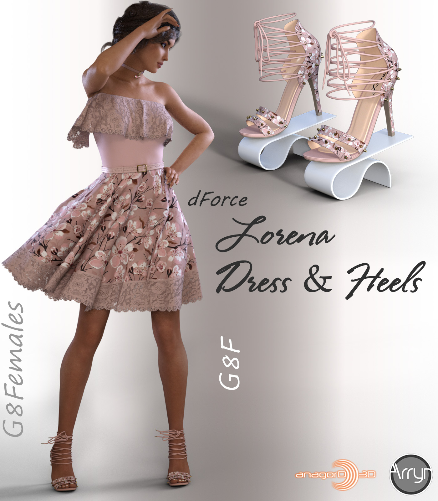 dForce Lorena Dress and Footwear Outfit for G8F by Arryn