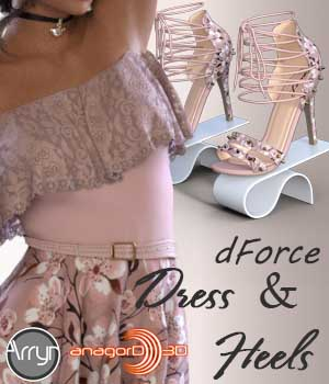dForce Lorena Dress and Footwear Outfit for G8F 3D Figure Assets Arryn