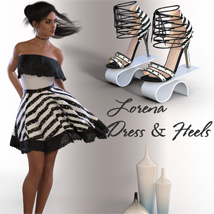 dForce Lorena Dress and Footwear Outfit for G8F image 1