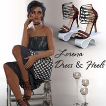 dForce Lorena Dress and Footwear Outfit for G8F image 2