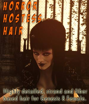 Horror Hostess Hair 3D Figure Assets Disciple3d