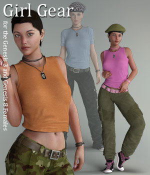 Girl Gear for the G3 and G8 Females 3D Figure Assets RPublishing