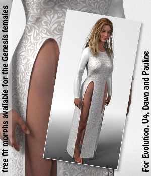 High Slit Dress and 10 Styles for PE, V4, Dawn and Pauline 3D Figure Assets karanta