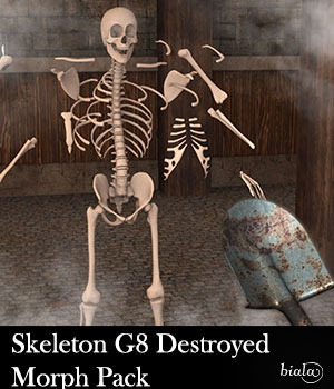 Skeleton G8M Destroyed Morphs  3D Figure Assets biala