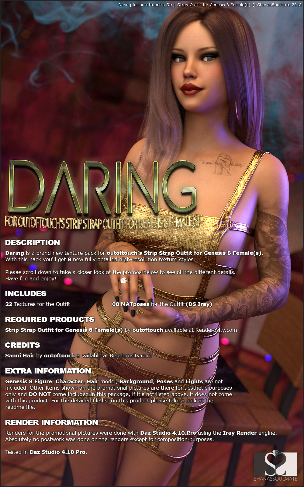 Daring for Strip Strap Outfit for Genesis 8 Females