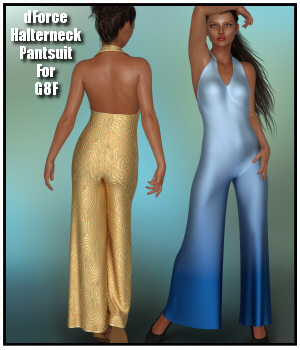 dForce - Halterneck Pantsuit for G8F 3D Figure Assets Lully