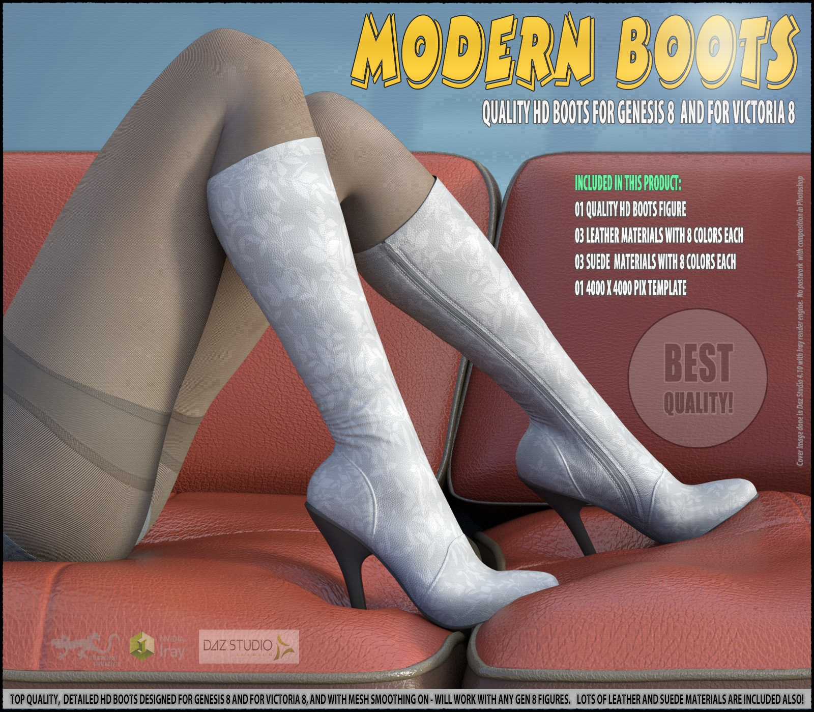 Modern Boots For Genesis 8 and For Victoria 8 3D Figure