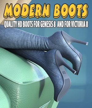 Modern Boots For Genesis 8 and For Victoria 8 3D Figure Assets hameleon