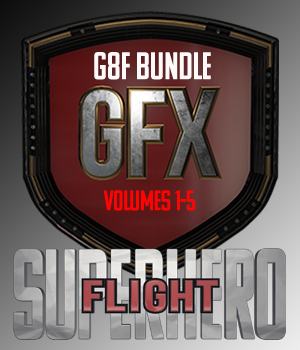 SuperHero Flight Bundle for G8F 3D Figure Assets GriffinFX