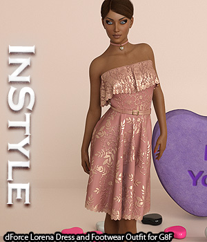 InStyle - dForce Lorena Dress and Footwear Outfit for G8F 3D Figure Assets -Valkyrie-