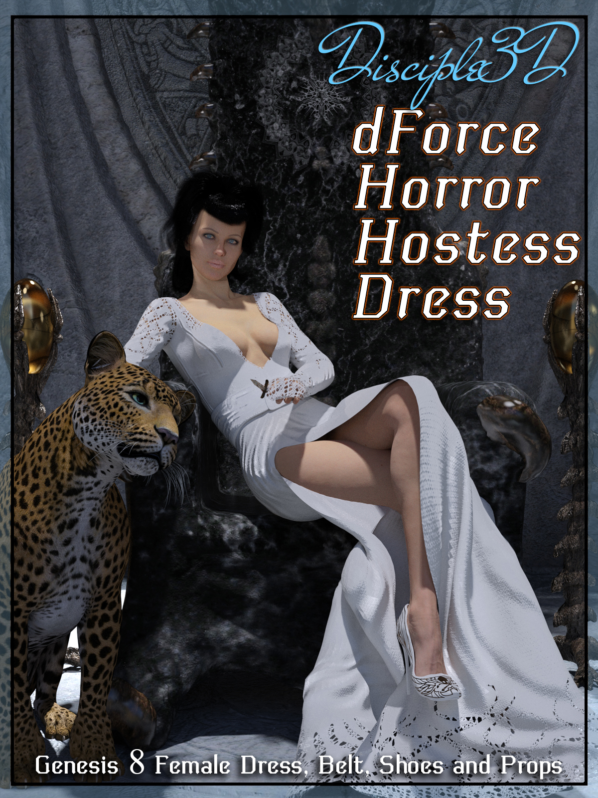 dForce Horror Hostess Dress for G8F by Disciple3d