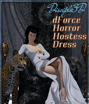dForce Horror Hostess Dress for G8F 3D Figure Assets Disciple3d