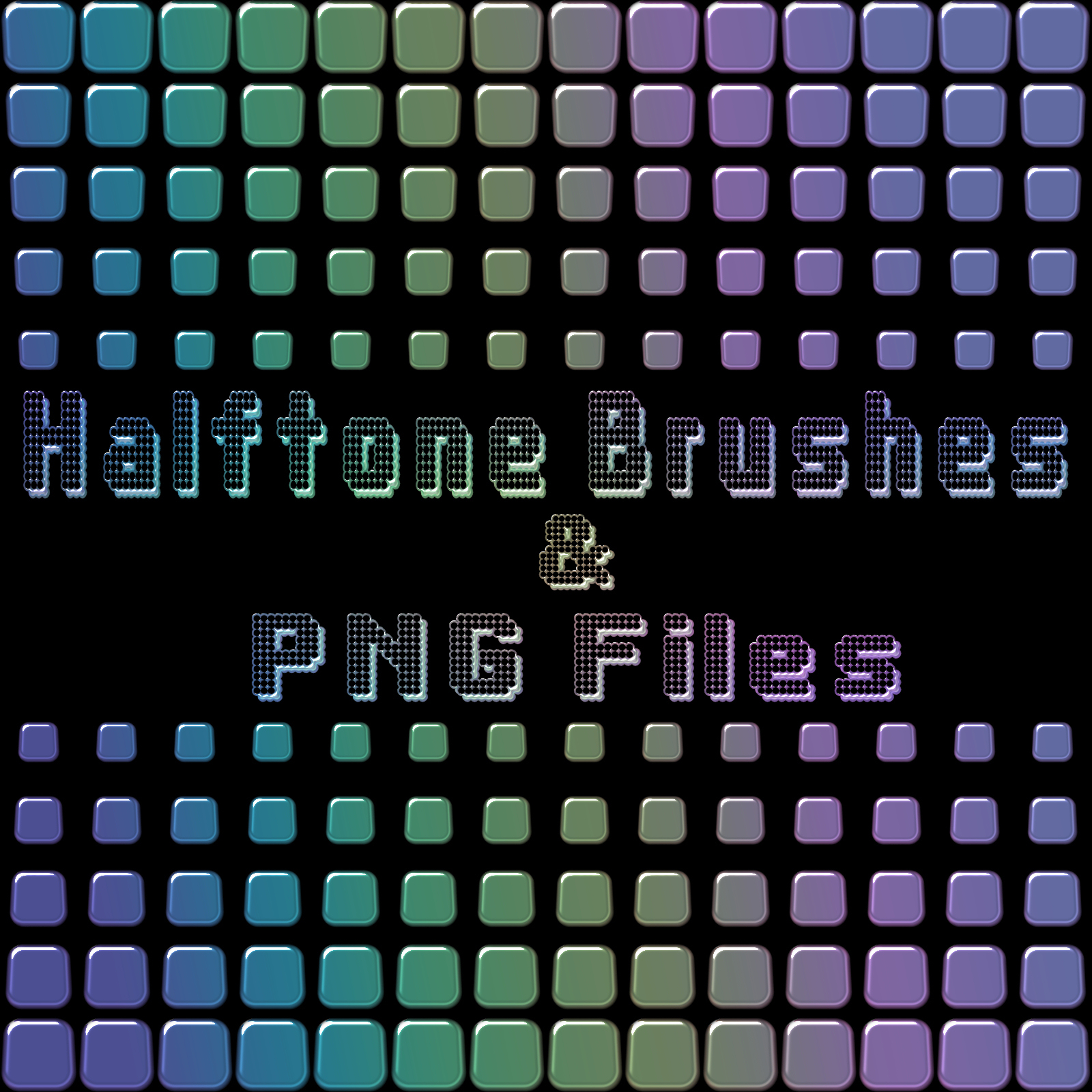 Halftone Brushes and PNG Files Pack