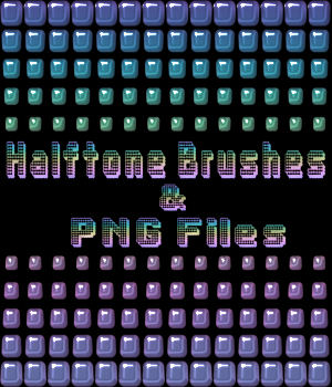 Halftone Brushes and PNG Files Pack 2D Graphics Merchant Resources fractalartist01