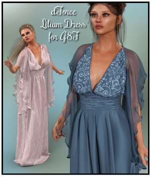 dForce - Lilium Dress for G8F  3D Figure Assets Lully