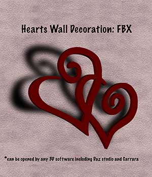 Hearts Wall Decoration FBX - Extended License 3D Game Models : OBJ : FBX 3D Models Extended Licenses markcruz