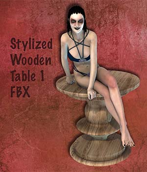 Stylized Wooden Table 1 FBX - Extended License 3D Game Models : OBJ : FBX 3D Models Extended Licenses markcruz